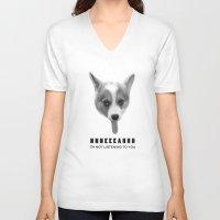meme V-neck T-shirts featuring Corgi Meme by Geordi the corgi