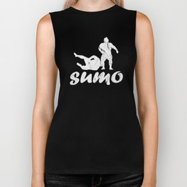 Sumo Wrestlers Wrestling Distressed Design Biker Tank