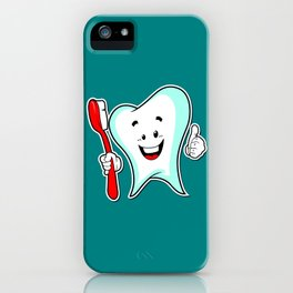 Dental Care happy Tooth with Toothbush iPhone Case
