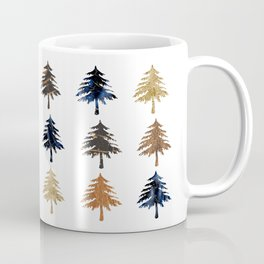 Navy moonlight Christmas trees Coffee Mug