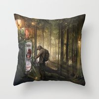 pocket fuel Throw Pillows featuring Forest Fuel print by Feelfactory