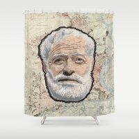 hemingway Shower Curtains featuring Ernest Hemingway by steam