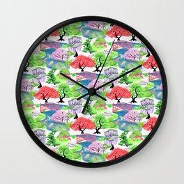 Japanese Garden Pattern_Watercolor & Ink Wall Clock