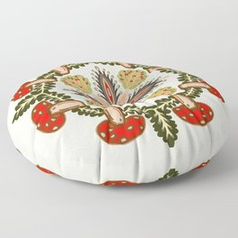 Fly Agaric Toadstool Forest Folkart, Red Fungi Mushroom Design with Trees Floor Pillow