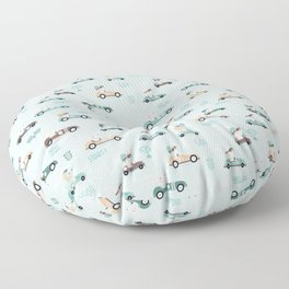Bunny Race - retro racing pattern Floor Pillow