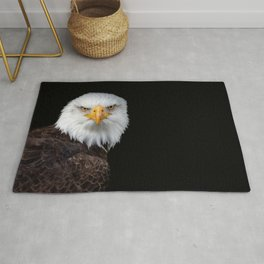 White Head Eagle with black background Rug
