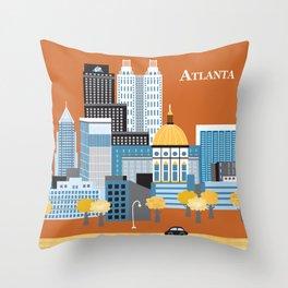 Atlanta, Georgia - Skyline Illustration by Loose Petals Throw Pillow