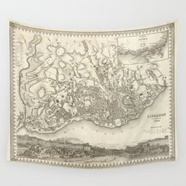Vintage Map of Lisbon Portugal (1844) Wall Tapestry