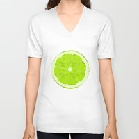 lime V-neck T-shirts featuring Lime by Avigur