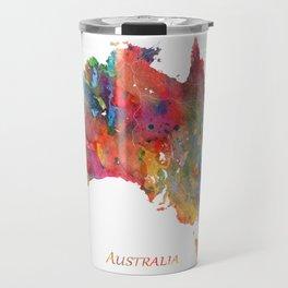 Australia Map Watercolor Art by Zouzounio Art Travel Mug