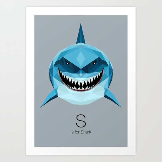 S is for Shark Art Print