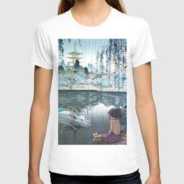 Haku and Chihiro woodblock mashup T-shirt