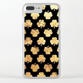 Golden Shamrocks Clear iPhone Case