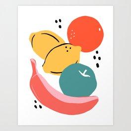 Minimalist fruits Art Print