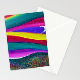 Moonlight Magic - Abstract Sky - Landscape Oil Painting Stationery Cards
