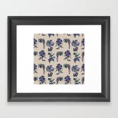Botanical Florals   Vintage Blueberry Framed Art Print