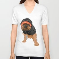gangster V-neck T-shirts featuring Gangster Digby by Michele Nicolette