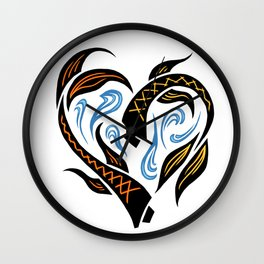 Koi Fish Heart Wall Clock