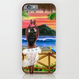 Hawaiian Sunset Hula Dancer iPhone Case