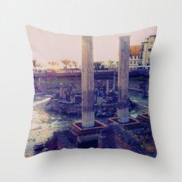 Roman Temple in Pozzuoli, Bay of Naples, Italy Throw Pillow