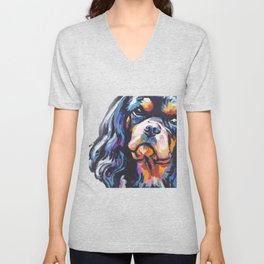 black and tan Cavalier King Charles Spaniel Dog Portrait Pop Art painting by Lea Unisex V-Neck