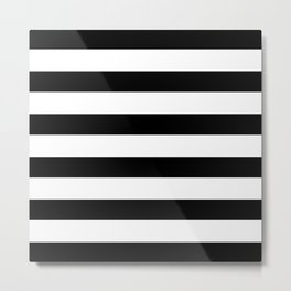 Simply Stripes in Midnight Black Metal Print