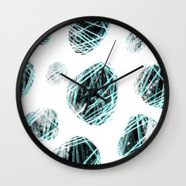 cosmic stones / black & aqua Wall Clock