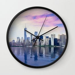 Pastel drawing of the New York Manhattan Skyline Wall Clock