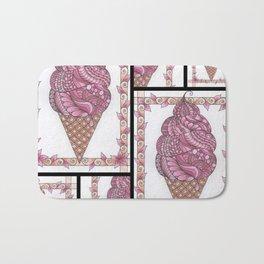 Strawberry Ice Cream Cone Collage Bath Mat