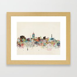 lansing michigan skyline Framed Art Print