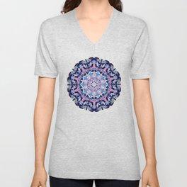 blue grey white pink purple mandala Unisex V-Neck
