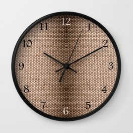 Beige burlap cloth texture abstract Wall Clock