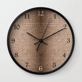 Beige burlap cloth texture abstract Wall Clock