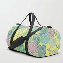 Colorful Succulents (yellow bg) Duffle Bag