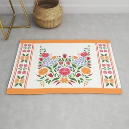 Hungarian folk pattern – Kalocsa embroidery flowers Rug