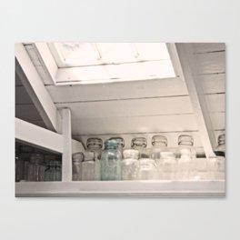 Vintage Jars in a White Kitchen Canvas Print