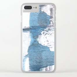 Blue hand-drawn watercolor Clear iPhone Case