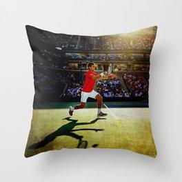 Novak Djokovic Tennis Throw Pillow