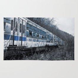 Blue Train An Abandon Trolley graveyard Rug