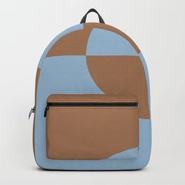 Pastel Blue Brown Minimal Circle Design 2 2021 Color of the Year Earth's Harmony Desert Varnish Backpack