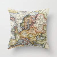 maps Throw Pillows featuring Vintage Maps by Wisteria Design Studio