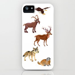 Funny animals in a mountain landscape iPhone Case