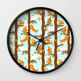 squirrel party Wall Clock