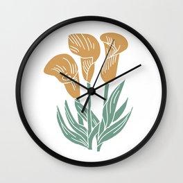 Lily Linocut - calla lily art print, floral art print, linocut art print Wall Clock