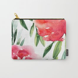 Bright Flowers with Green Leaves Carry-All Pouch