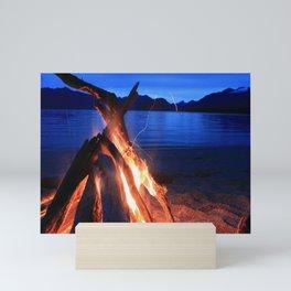Bonfire on the Beach, Kepler Track Mini Art Print