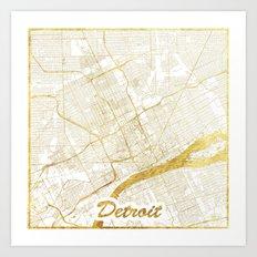Detroit Map Gold Art Print