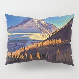 Rocky Mountains with Fir and Aspen Trees landscape painting by Rockwell Kent Pillow Sham