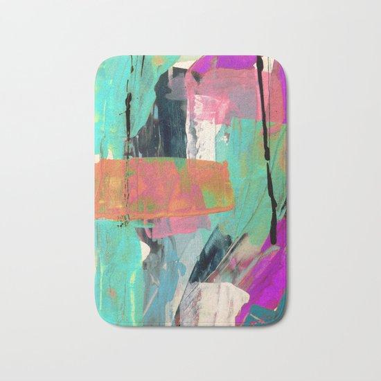 [Still] Hopeful - a bright mixed media abstract piece Bath Mat