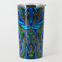 ARTY FEATHERY BLUE PEACOCK ABSTRACTED  FEATHERS ART Travel Mug